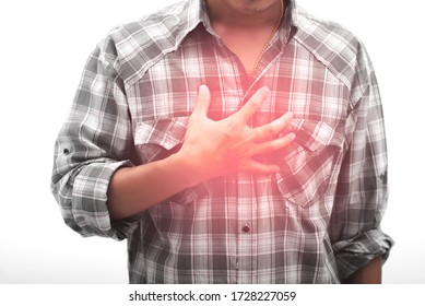 Chest pain isolated on white background or burning sensation in the middle of the chest.