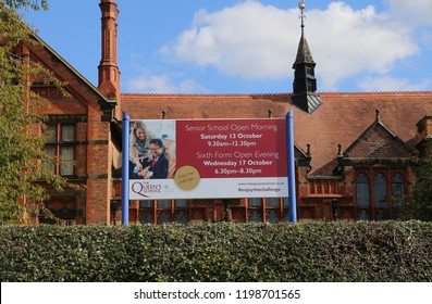 Chester, Cheshire, England, UK. September 29,2018. The historic Queen's School in the centre of the city is named after Queen Victoria.