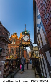 Chester, England –  The Eastgate Clock, Victorian Clock in Chester, England, portrait, against blue sky, wide angle, copyspace, Autumn, on November  16 2018 in UK.