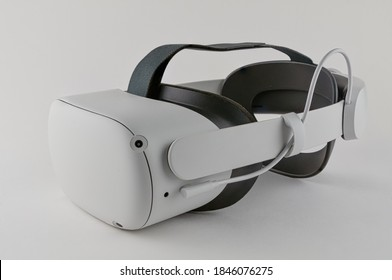 CHESTER, ENGLAND - NOVEMBER 1, 2020: Oculus Quest 2 virtual reality headset with optional Elite headstrap attached