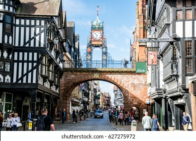 Chester / England - September 11, 2016 : Tourists at the city gate of the old town Chester.