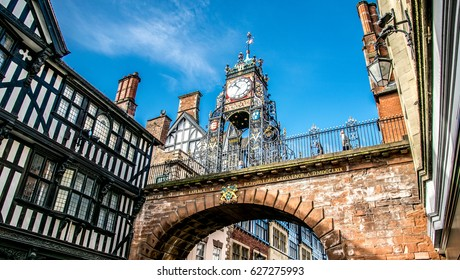 Chester / England - September 11, 2016 : The Eastgate Clock Tower at the entrance of the old town Chester.