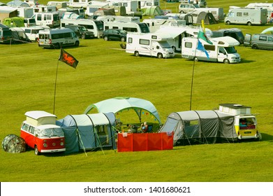 Chester, England, UK, Europe - April 19, 2019 : Camping in Chester racecourse the oldest racecourse still in use in England