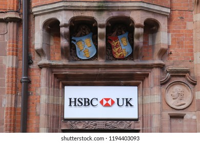 Chester, England, UK. September 28, 2018. The HSBC bank sign in the centre of the historic city.