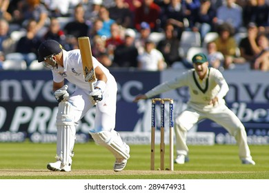 CHESTER LE STREET, ENGLAND - August 09 2013: Matt Prior is out LBW as Michael Clarke celebrates the wicket during day one of the Investec Ashes 4th test match at The Emirates Riverside Stadium