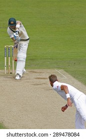 CHESTER LE STREET, ENGLAND - August 10 2013: Stuart Broad bowls the ball to Michael Clarke during day two of the Investec Ashes 4th test match at The Emirates Riverside Stadium.