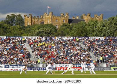 CHESTER LE STREET, ENGLAND - August 12 2013: A general view of play with Lumley Castle in the distance during day four of the Investec Ashes 4th test match at The Emirates Riverside Stadium