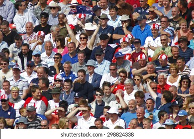 CHESTER LE STREET, ENGLAND. JULY 07 2012: An Australian cricket fan sitting in with the English fans during the 4th one day international between England and Australia