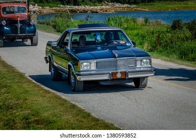 Chester,  Nova Scotia, Canada -  August 4, 2018 : 1980 GMC Caballero pickup at Graves Island Car Show.