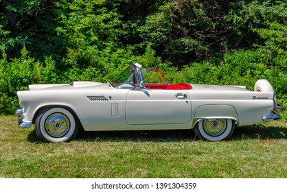 Chester,  Nova Scotia, Canada -  August 4, 2018 : Classy 1956 Ford Thunderbird at annual Graves Island Car Show,  Graves Island Provincial Park, Chester Nova Scotia.