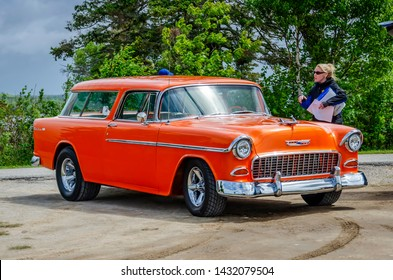 Chester, Nova Scotia, Canada - June 22, 2019 : 1955 Chevy Nomad at annual Graves Island Car Show at Graves Island Provincial Park, Chester, Nova Scotia Canada.