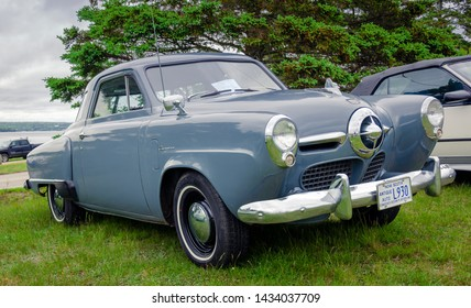 Chester, Nova Scotia, Canada - June 22, 2019 : 1950 Studebaker Champion Starlight Coupe on display at annual Graves Island Car Show at Graves Island Provincial Park, Chester, Nova Scotia Canada.