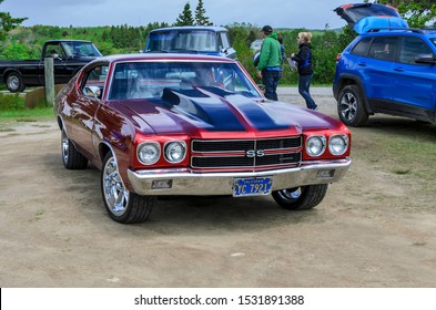 Chester, Nova Scotia, Canada - June 22, 2019 :  1970 Chevelle SS, entering annual Graves Island Car Show at Graves Island Provincial Park, Chester, Nova Scotia Canada.