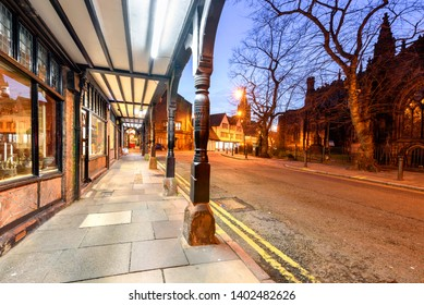 The Chester Rows in city of Chester, Cheshire, consist of covered walkways at the first-floor level behind which are entrances to shops
