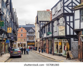 Chester, UK, 05 February 2015: View of St. Werburgh Street next to Chester cathedral, Chester city centre, Cheshire, UK