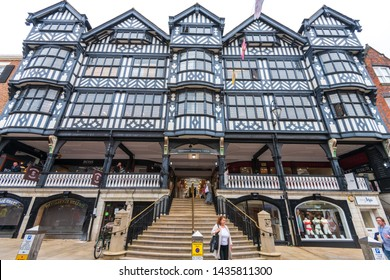 CHESTER, UK - 26TH JUNE 2019: The front of the Grosvenor shopping centre in the middle of Chester, Chestershire, UK