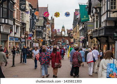 CHESTER, UK - 26TH JUNE 2019: A shot down the busy and famous highstreet in the middle of Chester, UK, June 2019