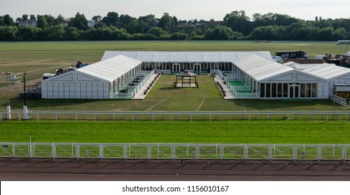 Chester, UK: Aug 6, 2018: Hospitality marquees in the centre of Chester Racecourse. Chester is home to the oldest racecourse in the UK. The first horse races were held in 1539.