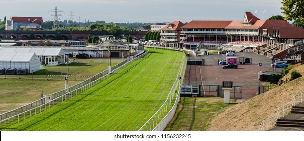 Chester, UK: Aug 6, 2018: Chester racecourse is the oldest horse racing venue in the UK.