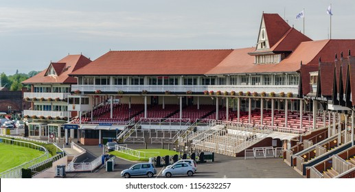 Chester, UK: Aug 6, 2018: The County Stand at Chester racecourse. Chester is home to the oldest racecourse in the UK