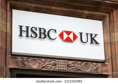 Chester, UK - August 1st 2018: A sign above the entrance to a HSBC Bank in the city of Chester, UK.