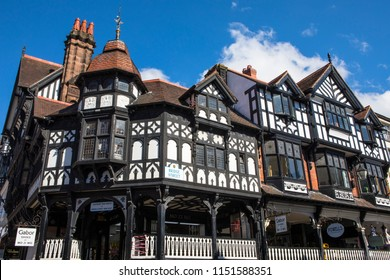 Chester, UK - August 2nd 2018: The beautiful architecture on Bridge Street in the historic city of Chester in Cheshire, UK.