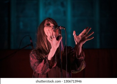 "Chester, UK - February 1st 2019.  The Duke Spirit singer  Liela Moss performing at St Mary's in Chester during her UK tour to promote her debut solo album ""My Name Is Safe In Your Mouth""."