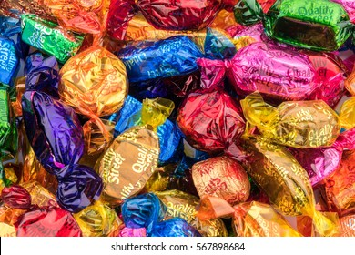 CHESTER, UK - JANUARY 28TH 2017: A close-up of the Nestle Quality Street chocolates