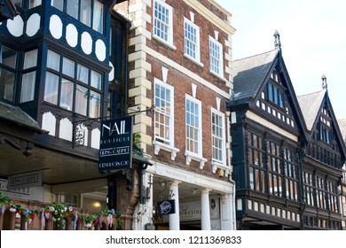 CHESTER, UK - JULY 19, 2018: Old architecture with black and white buildings, Chester city centre, Cheshire, UK
