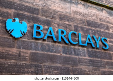 Chester, UK - July 31st 2018: The Barclays bank logo outside one of their branches in the city of Chester, UK.