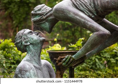 Chester, UK - July 31st 2018: The beautiful Water of Life sculpture in the cloister garth garden at Chester Cathedral in the historic city of Chester in Cheshire, UK.