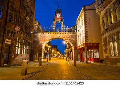 Chester, UK - July 31st 2018: A beautiful dusk-time view of the historic Eastgate Clock in the city of Chester in Cheshire, UK.
