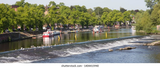 CHESTER, UNITED KINGDOM. 18 MAY 2019. The River Dee at Chester, Cheshire, United Kingdom.