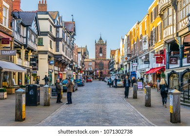 CHESTER, UNITED KINGDOM, APRIL 7, 2017: Traditional tudor houses alongside the Bridge street in the central Chester, England
