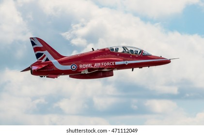 CHESTER, UNITED KINGDOM - August 06, 2016: Red Arrows departing from Chester Airport. Chester Airport August 06 2016
