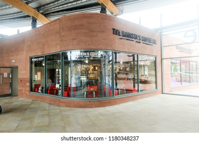 """""""Chester, United Kingdom- August 29,2018: A picture of The Barista Coffee and Co solely operated in Chester Bus Interchange everyday. It create lot of profit early of this year."""""""