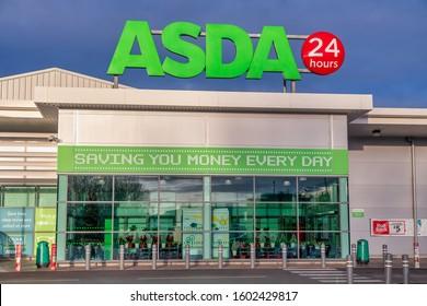 CHESTER, UNITED KINGDOM - DECEMBER 25th, 2019: Asda supermarket store front