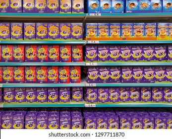 CHESTER, UNITED KINGDOM - JANUARY 28 2019: Various selection of Easter Eggs on sale in a supermarket