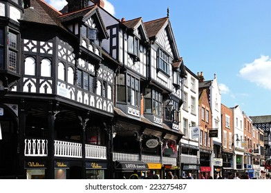 CHESTER, UNITED KINGDOM - JULY 22, 2014 - The rows shops along Bridge Street, Chester, Cheshire, England, UK, Western Europe, July 22, 2014.