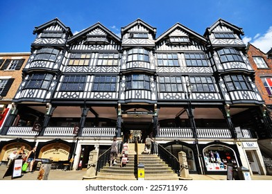 CHESTER, UNITED KINGDOM - JULY 22, 2014 - Front facade of the Grosvenor Shopping Centre along Bridge Street, Chester, Cheshire, England, UK, Western Europe, July 22, 2014.