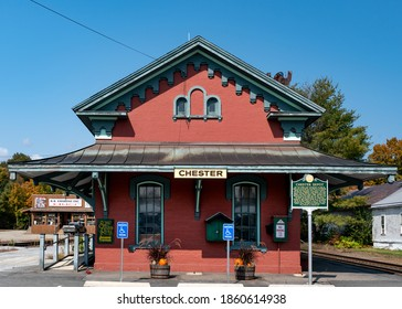 Chester, Vermont, USA. September 25, 2020. The train station depot in Chester Depot, VT.