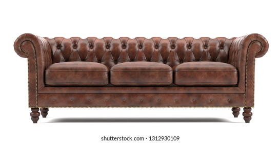 Chesterfield leather sofa with white background