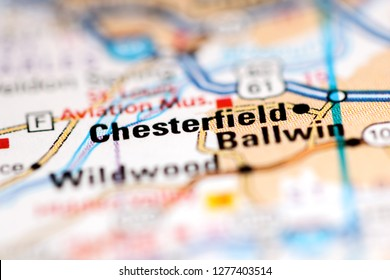 Chesterfield. Missouri. USA on a geography map