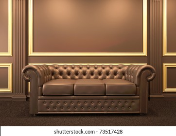 Chesterfield modern sofa in wooden interior with gold frame