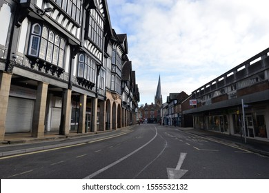 CHESTERFIELD, UNITED KINGDOM, 10th November, 2019: Old tudor black and white buildings and shop fronts in Chesterfield town centre