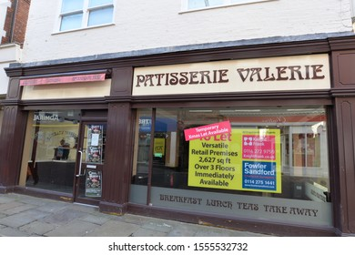 CHESTERFIELD, UNITED KINGDOM, 10th November, 2019: Patisserie Valerie luxury cake shop and cafe in Chesterfield