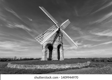 Chesterton Windmill in Warwickshire, England, photographed in monochrome.