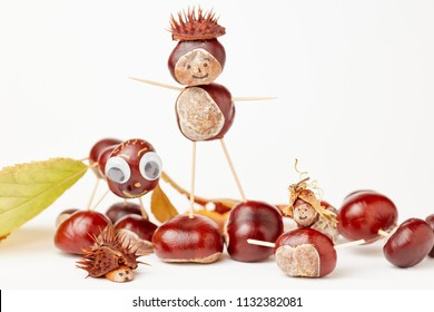 Chestnut figures made from autumns acorns and chestnuts