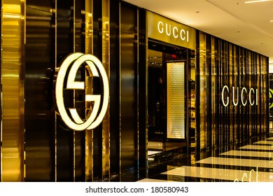 CHESTNUT HILL, MA - MARCH 8: Gucci store on March 8, 2014 in Chestnut hill mall, MA, USA. Gucci is an Italian fashion and leather goods brand. Gucci is also the biggest-selling Italian brand.