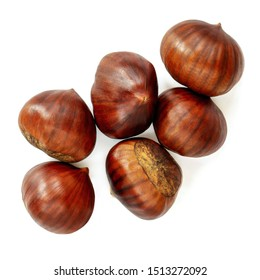 Chestnut Isolated. Roasted sweet chestnuts for Christmas  on white background. Top view. Flat lay